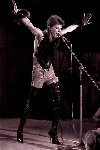 David Bowie wearing a feather boa at the 1980 Floor Show Midnight Special