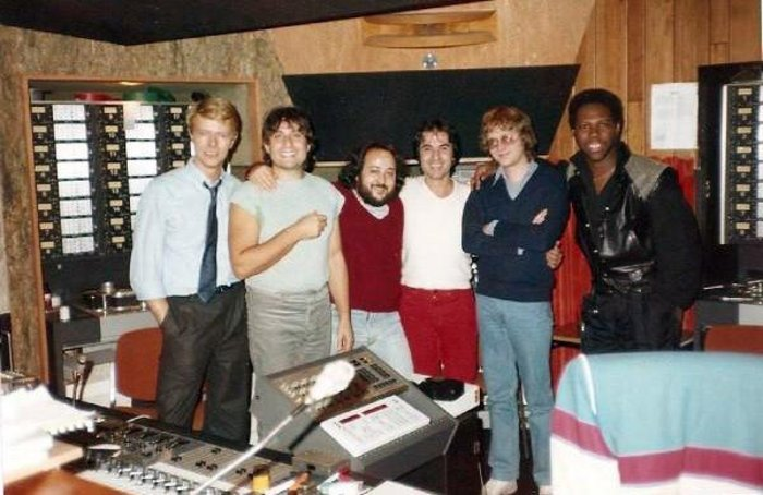 Nile Rodgers and David Bowie during the recording of Let's Dance at Mountain Studios