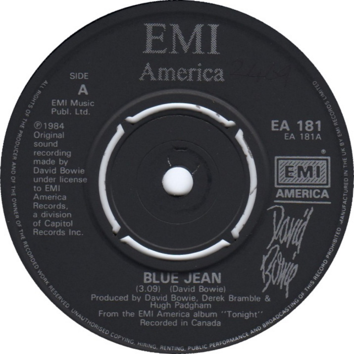 David Bowie - Blue Jean - 1984 - UK - Single - A Side Label