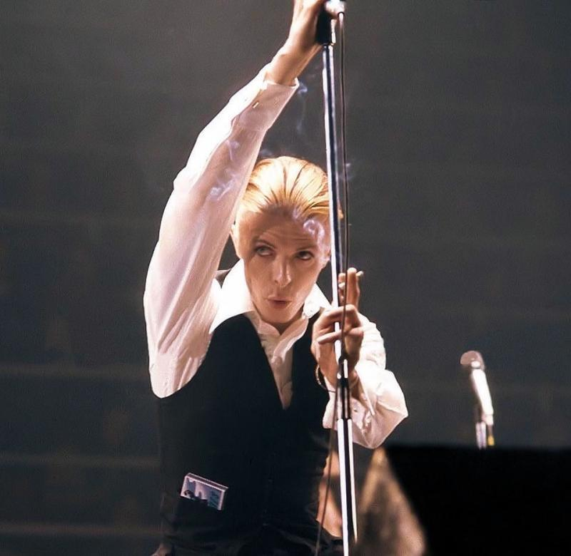 David Bowie aka Thin White Duke on stage during the Isolar tour in 1976