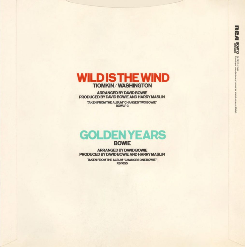 Wild Is The Wind by David Bowie, 1981 single back cover