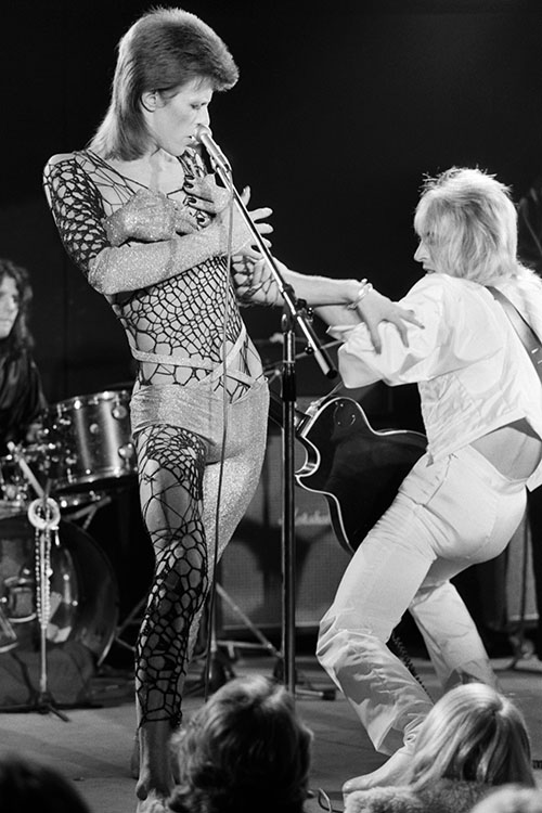 David Bowie and Mick Ronson onstage at the Marquee club during the 1980 Floor Show, photographed by Terry O'Neill on 19 October 1973