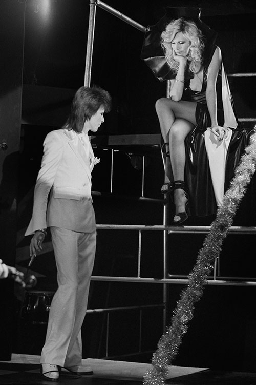 David Bowie serenades Amanda Lear at the Marquee club during the 1980 Floor Show, photographed by Terry O'Neill on 19 October 1973