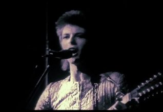 David Bowie performs Lady Stardust at the Rainbow Theatre in August 1972